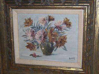 Ritter Signed Still Life Flowers Floral Oil Painting Earth Tone Colors