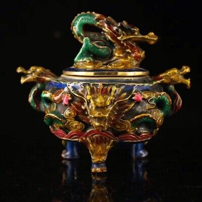 Chinese Old copper handmade Build Cloisonne Painted Dragon incense burner