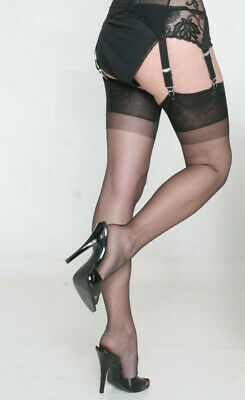 Eleganti RHT 'Caresse' (Sheer Heel) Stockings / Nylons BLACK - imperfects NYLONZ