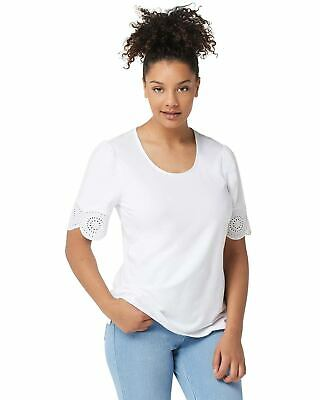 Belle by Kim Gravel Womens TripleLuxe Knit Eyelet-Trim Top Large White A351264
