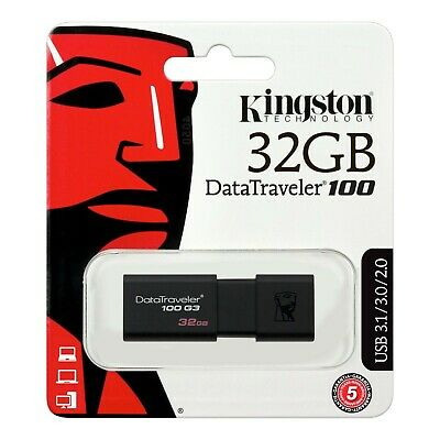 32GB. Kingston USB Stick 2.0/3.0/3.1 Flash Drive (DT100-G3) 32GB