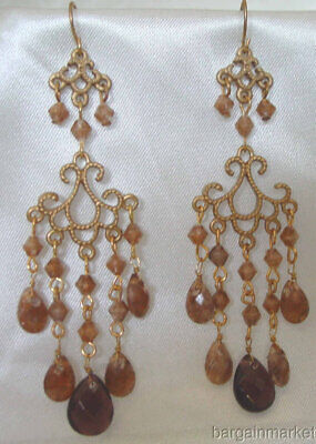 Vintage Style Gold Tone Chandelier Light Weight Dangle Drop Earrings