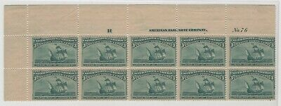 #232 Top Plate of 10, Fine, OG LH, Lite Crease in One with Skip  (GD 3/19L)