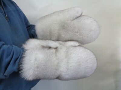 Brand New Norwegian Blue Fox Single Sided Fur Mittens Mitts Men Women Size All