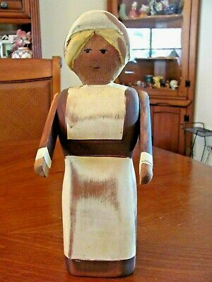 """Vintage Iowa Signed Wood Carved Folk Art Articulated Arms 12"""" Woman Figure Exc"""