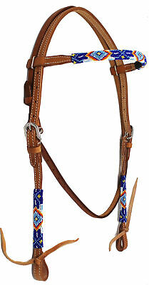 Horse Tack Bridle Western Leather Browband Headstall Turquoise 80183B