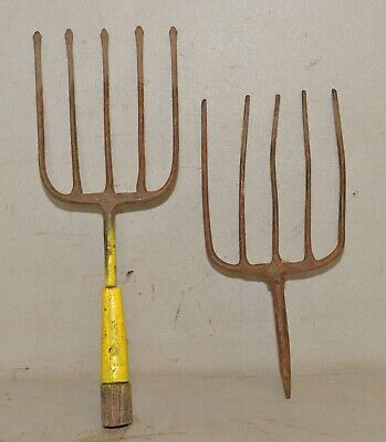 2 antique blacksmith forged eel frog fish gig spear collectible tool lot early