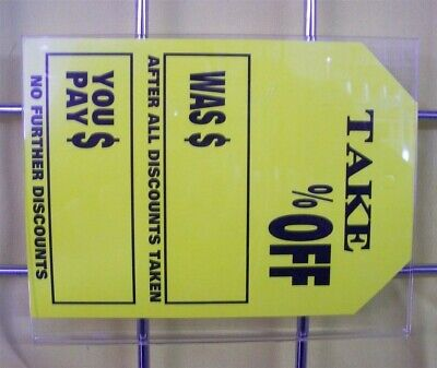 """Store Display Fixtures 4 NEW ACRYLIC GRIDWIRE SIGN HOLDERS 7"""" W x 5½"""" H"""