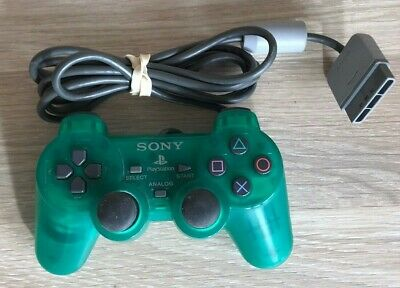 Official Sony PlayStation Transparent Clear Green Dual Shock Analog Controller