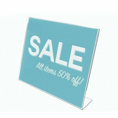 "Store Display Fixtures NEW ACRYLIC SLANT BACK SIGN HOLDER 11"" HIGH X 14"" WIDE"