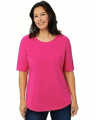 Belle by Kim Gravel Womens TripleLuxe Elbow-Sleeve Top Plus 1X Hot Pink A350510