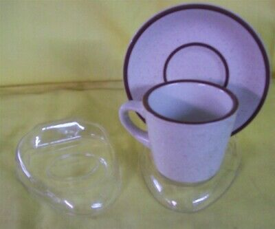 """Store Display Fixtures 6 NEW CUP & SAUCER DISPLAY STANDS CLEAR 5"""" x 4"""""""