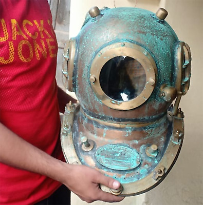 Seltener antiker Taucherhelm Vintage Tiefseemarine US Navy Boston Divers Helm