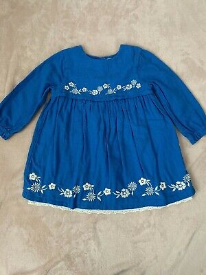Mini Boden Baby Girls Long Sleeve Embroidered Dress Size 18-24 Months Blue White
