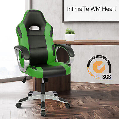 Executive Racing Gaming Office Chair Swivel Computer Desk Chair Green PU Leather