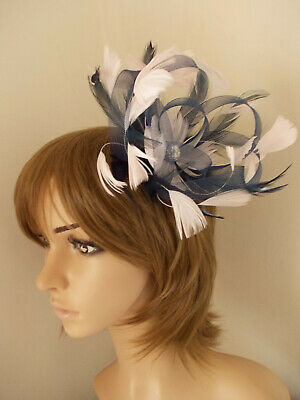 Navy Blue Pale Pink Looped fascinator feathers diamante hair clip