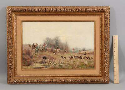 1917 Antique SIDNEY PIKE Fox Hunting Hunters Hound Dogs Horses & Sheep Painting
