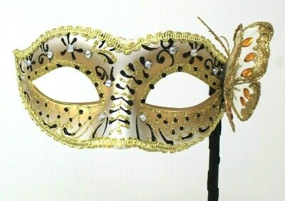 White and Gold Venetian Masquerade Party Prom Carnival Eye Mask Hand Held Stick