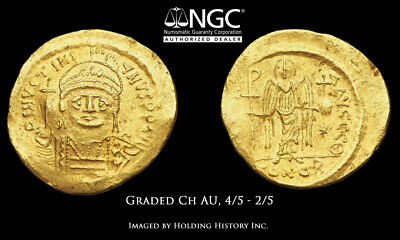 Justinian I. 527-565. Gold Solidus, NGC Ch AU, 4/5 - 2/5