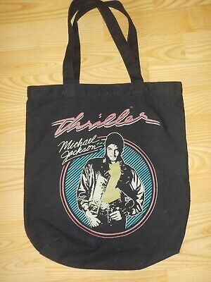 Vintage 1982 Michael Jackson Thriller Album Black Canvas Tote Bag Purse
