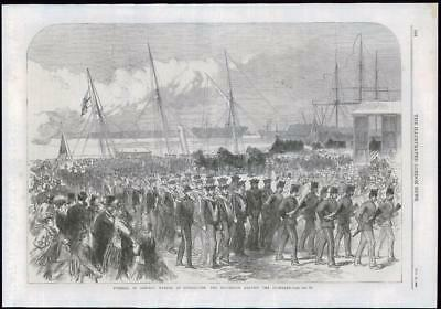 1869 Antique Print - HAMPSHIRE PORTSMOUTH DOCKYARD FUNERAL ADMIRAL WARDEN (113)