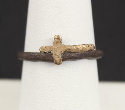 Authentic Ancient Medieval or Roman Copper Ring w/ Christian Gold Cross