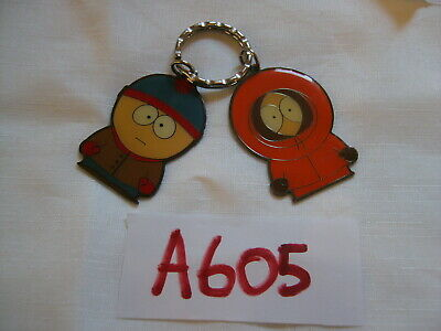 Vintage South Park Metal Key Ring Fobs Chain 1998 Comedy Central Kenny & Cartman