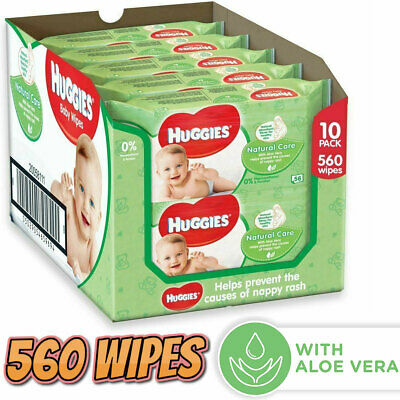 Huggies Baby Wipes Natural Care With Aloe Vera Toilet Tissue 10 X 56 (560 Wipes)
