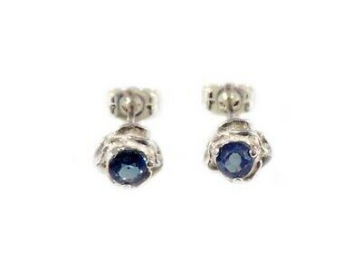 Blue Sapphire Earrings ¾ct+ Antique 19thC - Medieval Ram Gem Stopped Black Magic