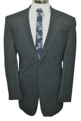 Stafford Mens Gray Wool Classic Fit Pleated Front 2 Piece Suit 46L 36Wx32L
