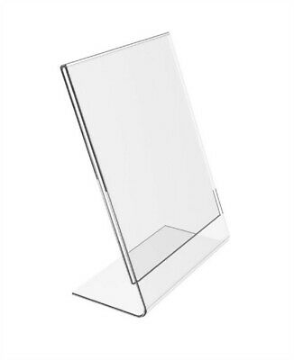 "Store DISPLAY Fixtures 4 NEW ACRYLIC SLANTBACK SIGNHOLDERS 3.5"" wide x 5.5"" tall"
