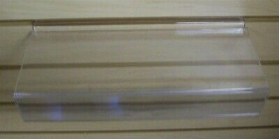 "Store Displays 2 NEW ACRYLIC SLAT WALL SHLEVES W/ SIGN HOLDER 10"" W x 4"" D BACK"
