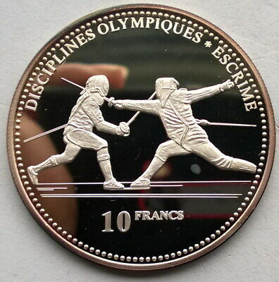 Congo 2000 Fencers 10 Francs Silver Coin,Proof