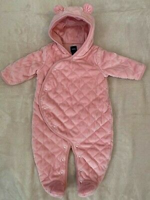Baby Gap Girls Winter Coat Quilted Bunting Snowsuit  Size 3-6 Months Pink Bear