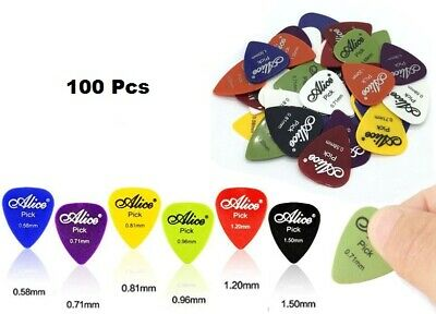 100pcs Guitar Picks Acoustic Electric Plectrums Celluloid Assorted Colors