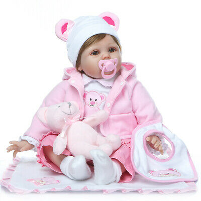 22inch Reborn Baby Dolls Cute Silicone Vinyl Lifelike Bebe +Pink Clothes Age3+
