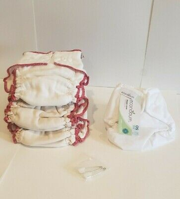 Econobum White Diaper Cover & 3 Cotton Cloth-eez Organic Diapers