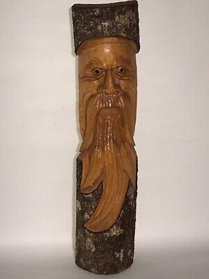 Tree Spirit Wise Old Man  Hand Carved Wood Wall Art Tropical Patio Tiki Bar