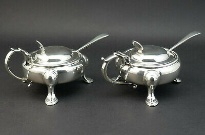 c1910, HORACE WOODWARD, PAIR ANTIQUE EDWARDIAN SOLID SILVER MUSTARDS & SPOONS