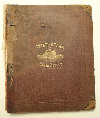 Original 1872 Beers, Comstock & Cline STATE ATLAS OF NEW JERSEY, Maps