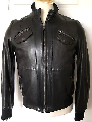HUGO BOSS Men's Size Small 38 Naori Leather Motorcycle Jacket Black Reg $695