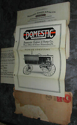 1924 Domestic Engine brochure, letter, price list - Shippensburg, PA.