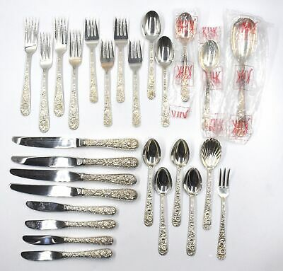 Kirk & Son Repousse Flatware 4 Settings Sugar Shell Serving Pieces Sterling 925