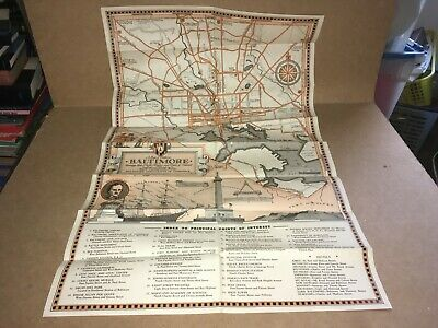 @ Vintage Historical Map Of Baltimore 1936 @