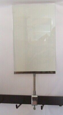 """4 New 7"""" x 11"""" Acrylic Sign Holder Card Frames With Rectangle Tubing Base 15"""" T"""