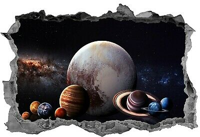 SOLAR SYSTEM PLANETS ASTRONOMY WALL STICKER 3D ART POSTER  MURAL DECAL DECOR VB4
