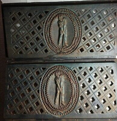 "Pair RARE Vintage Antique Cast Iron GOLF Grate Panel 23"" Architectural Salvage"