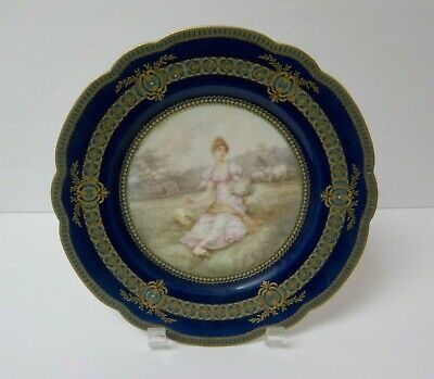 "19th C. Haviland Limoges France Portrait 9"" Gilt Cabinet Plate"