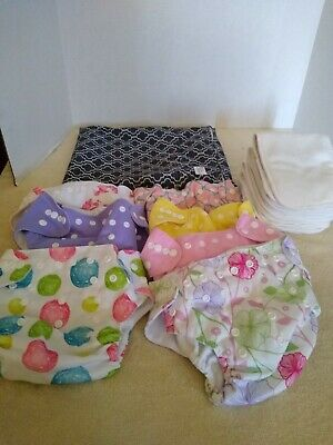 Lot of 7 Nora's Nursery Cloth Diapers with Liners-Baby Girl One Size