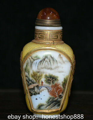 9cm Old Chinese Colored Glaze Painted Gild Mountain Water Beast Snuff Bottle